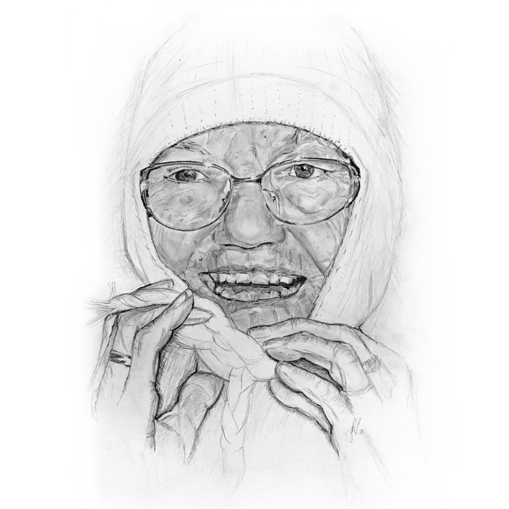 Portrait drawing, grandma