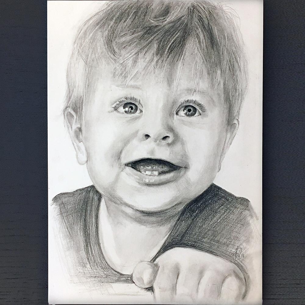 gaven til hende der har alt - portraettegning