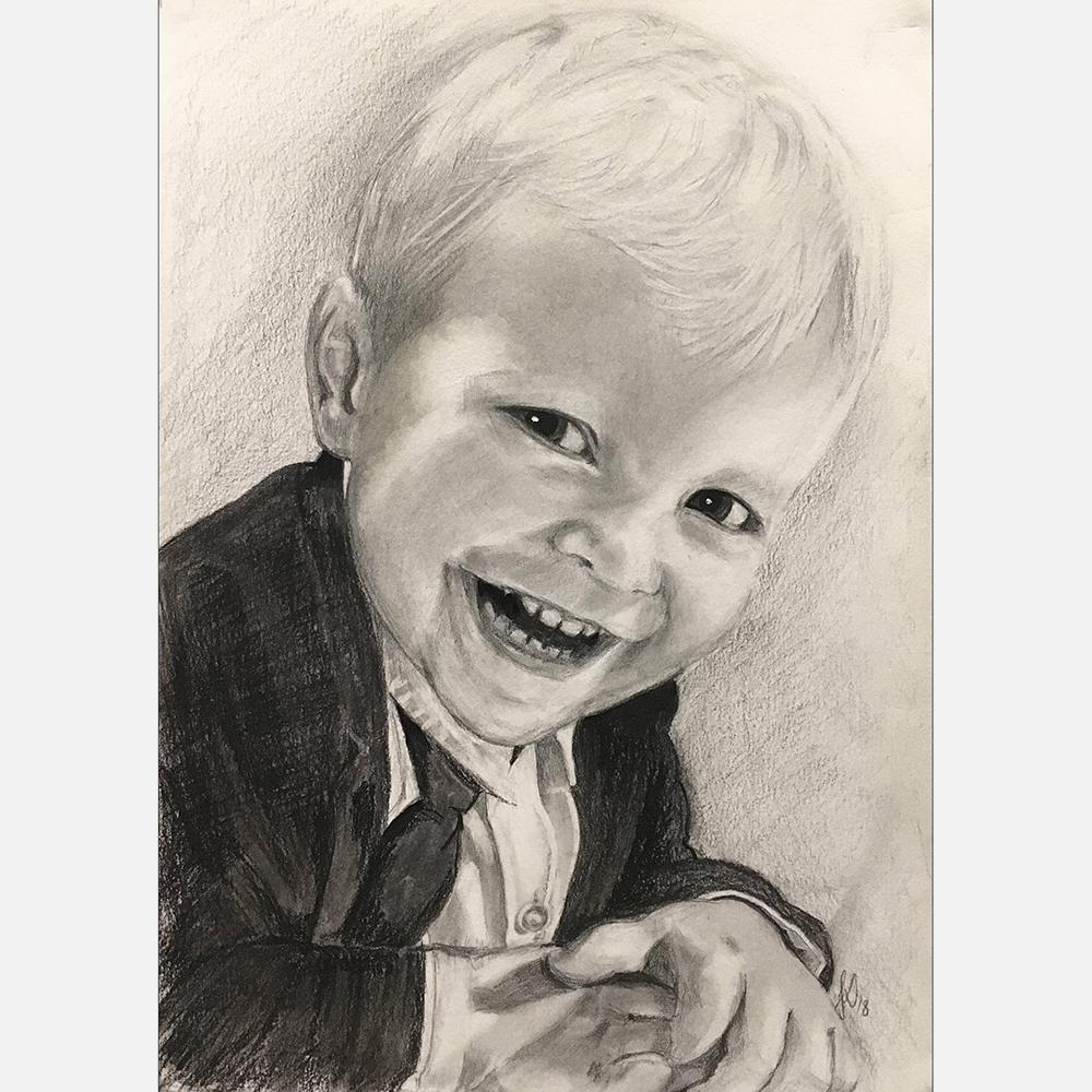 unik julegave til Augusts forældre - håndtegnet portræt