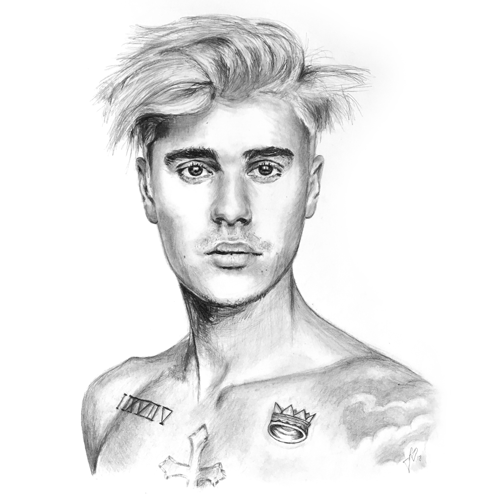 justin bieber portrait drawing pencil
