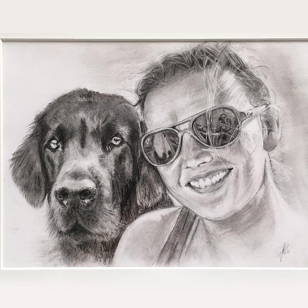 portrættegning hunde, katte, dyr, børn portrættegner unik gaveide julegave