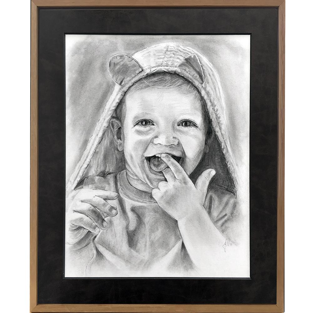 portrættegning_børn_barn_gaveide_unik_anderledes_fødselsdag, barnedåb, bryllup