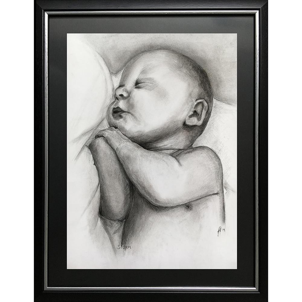 Portraettegning portrættegner baby nyfødt gaveide barnedåb bryllup fødselsdag