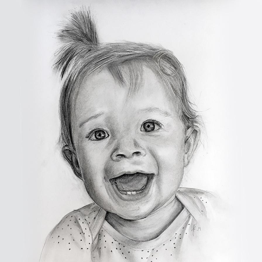 Portrættegning - Håndtegnet portrættegning boerneportraet gaveide unik barnedaab