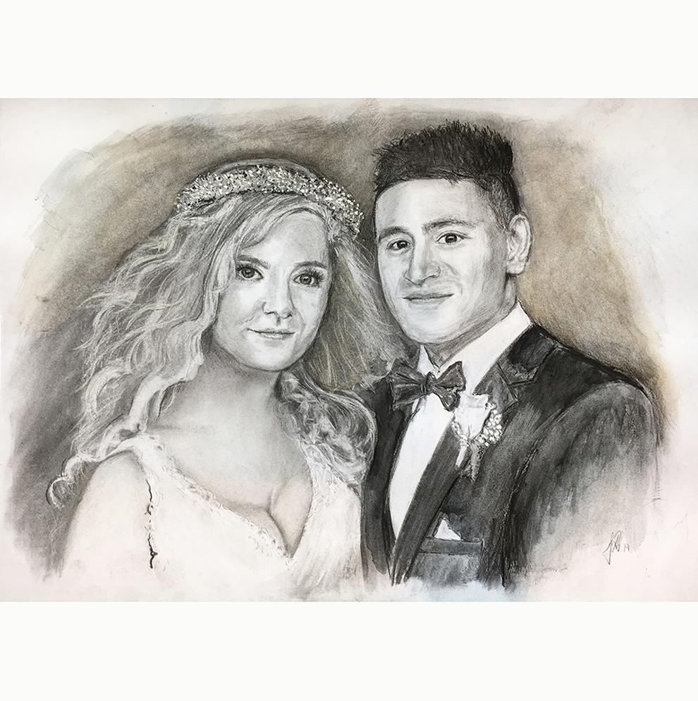 Portrættegning, håndtegnet portrættegning Celinna Martinna brylllupsportræt bryllupsgave