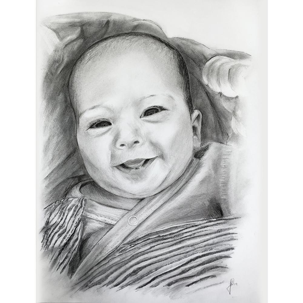 portrættegning håndtegnet portrættegning baby gave til barnedåb bedsteforældre