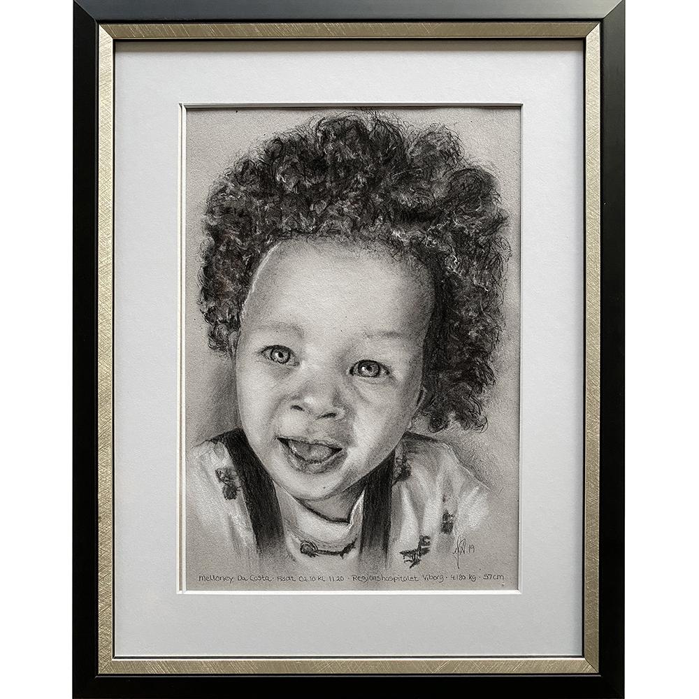 portraettegning håndtegnet portraettegner barn gaveide barnedaab bryllupsgave bedsteforaeldre