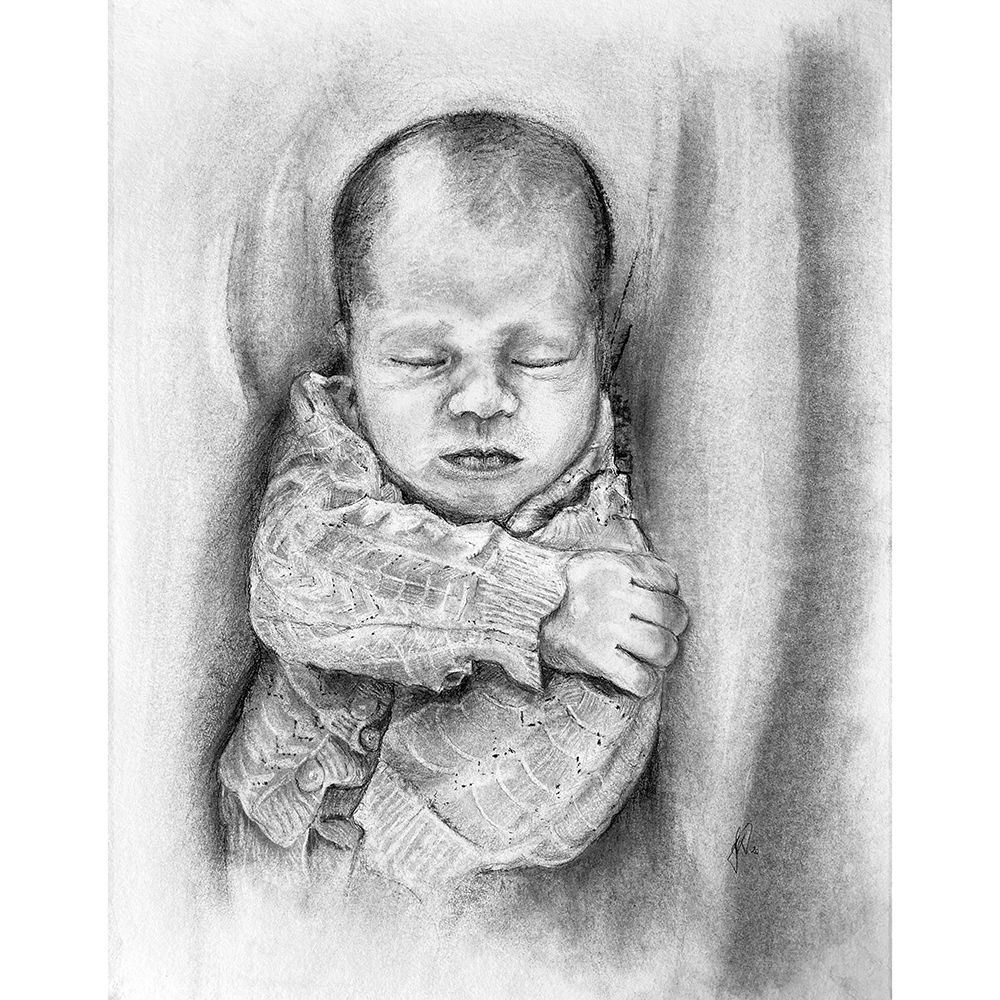 portraettegner_portraettegning_baby_barn_gaveide_barnedaab_bryllup personlig