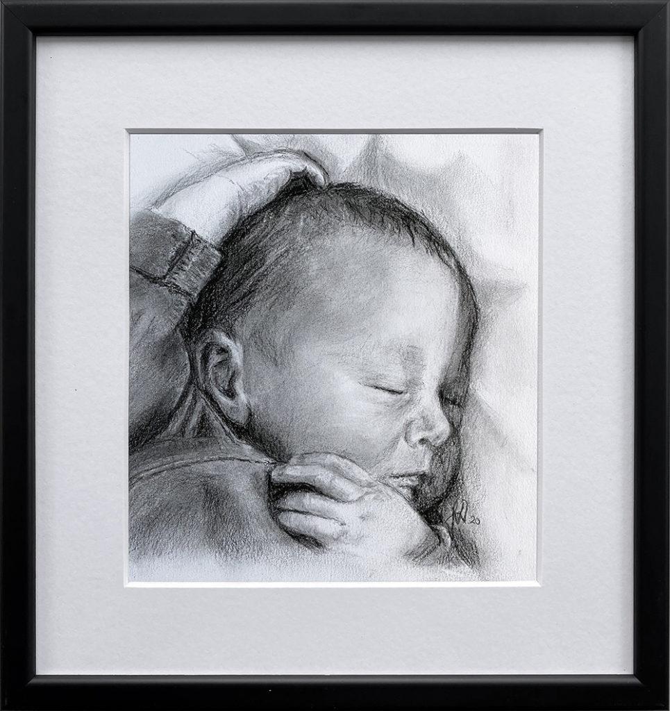 gaveide_barnedaab_portraettegning_baby_barn_englebarn_bryllupsgave_personlig_portraettegner
