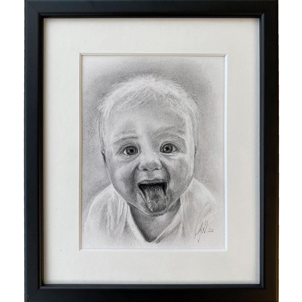 portraettegning_portraettegner_gaveide_barnedaab_julegave_foraeldre_daabsgave