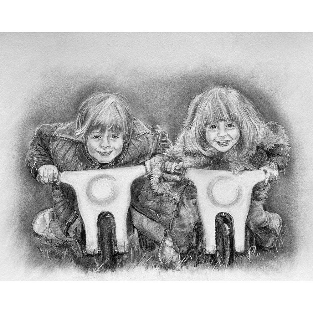 portraettegning-portraettegner-potraettegning-boern-jule-gaveide